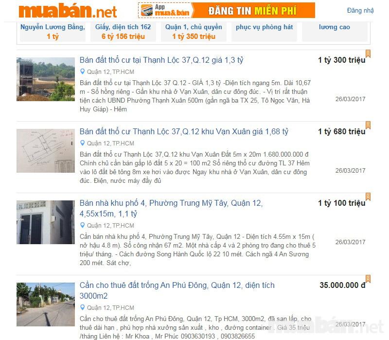 Tìm kiếm thông tin mua bán nhà quận 12 giá rẻ