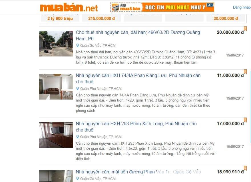 Giao diện của webite Muaban.net