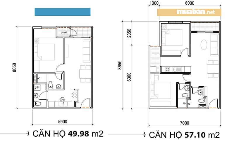 Bản vẽ mô phỏng diện tích căn hộ Asa Light