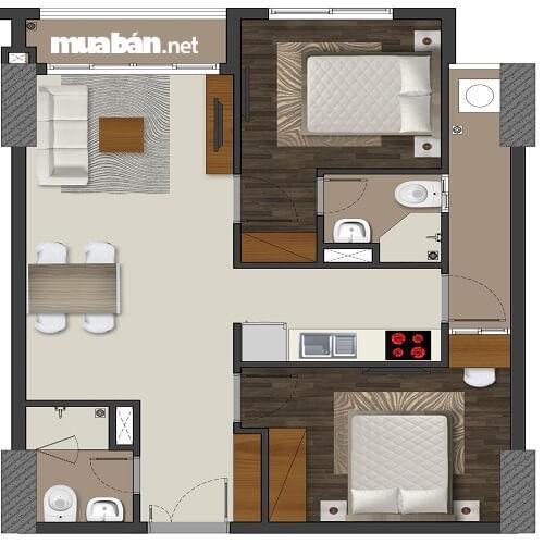 căn hộ hai phòng ngủ