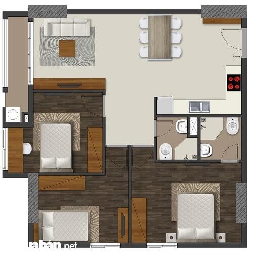 Mẫu căn hộ 3 phòng ngủ cho gia đình