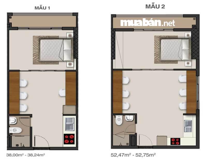 Diện tích và thiết kế căn hộ 1 phòng ngủ