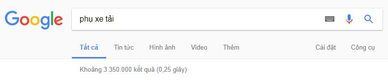 hụ xe tải với kết quả tìm kiếm trên google đạt 3.3 triệu trong 0.25 giây