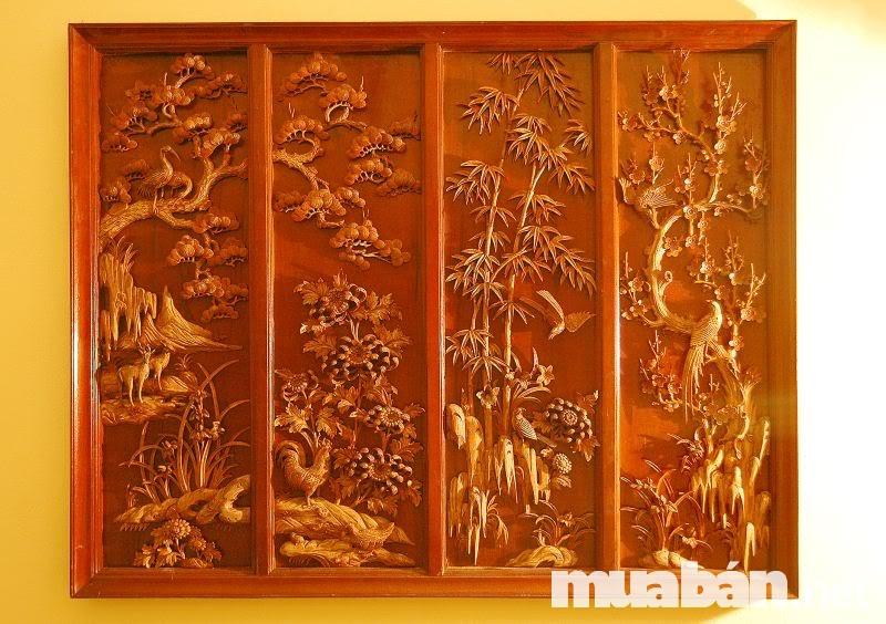 Có thể chọn tranh tứ quý được tạo nên từ gỗ