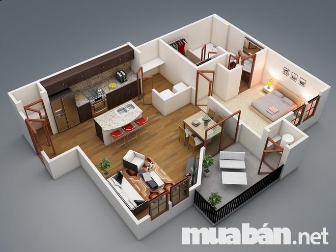 Căn hộ chỉ với một phòng ngủ và các phòng chức năng khác là lựa chọn hàng đầu dành cho các bạn độc thân