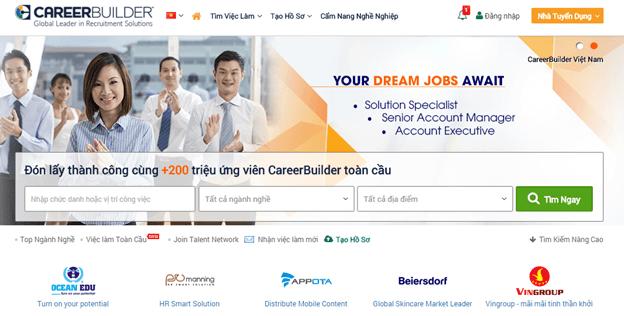 Careerbuilder giúp bạn dễ dàng tìm được những công việc phù hợp với tiêu chí đặt ra