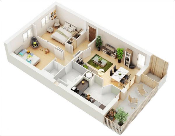 Thiết kế căn hộ 2 phòng ngủ 1