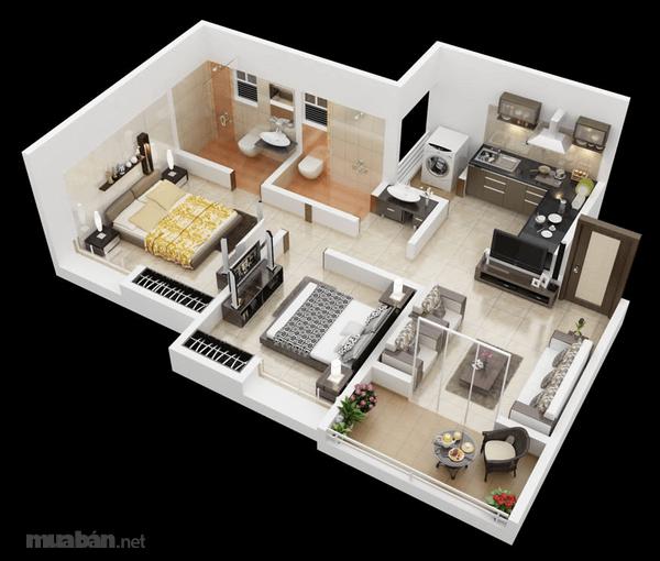 Thiết kế căn hộ 2 phòng ngủ 2