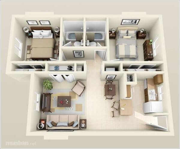 Thiết kế căn hộ 2 phòng ngủ 3
