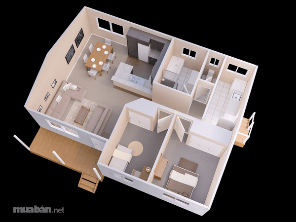 Thiết kế căn hộ 2 phòng ngủ 4