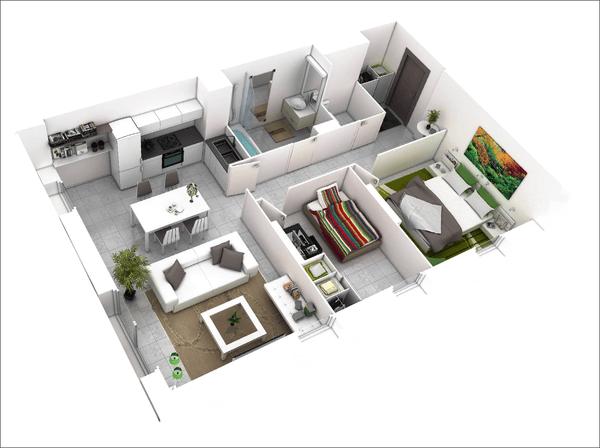 Thiết kế căn hộ 2 phòng ngủ 5