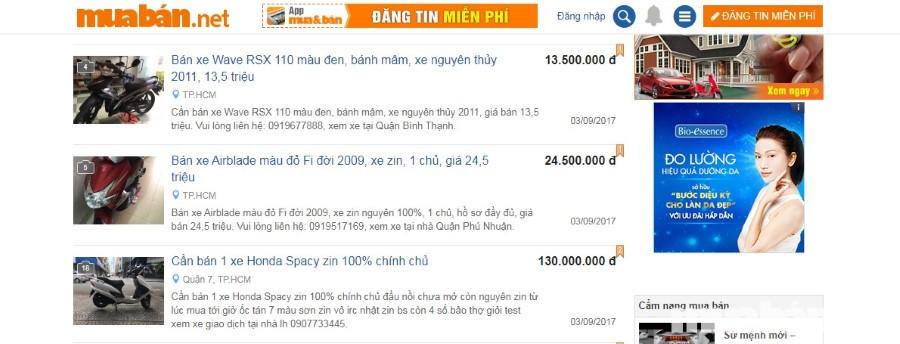 Muaban.net là website uy tín cung câp nhiêu thông tin về xe cộ, bất động sản...