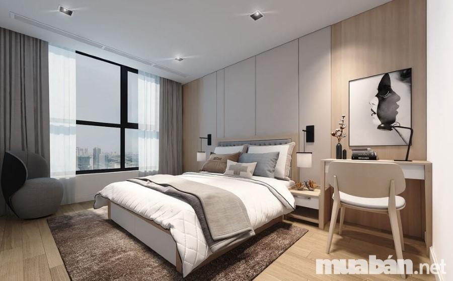 Bố trí nội thất phòng ngủ chú trọng vào sự gọn gàng, tránh rờm rà