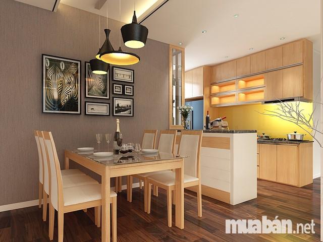 Thiết kế phòng bếp chung cư 50 m2