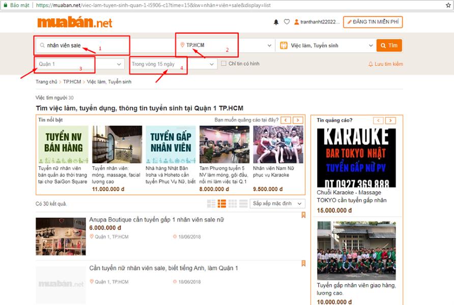 Các Bước Tìm Kiếm Việc Làm Kinh Doanh Tại Thành Phố Hồ Chí Minh Trên Muaban.net.