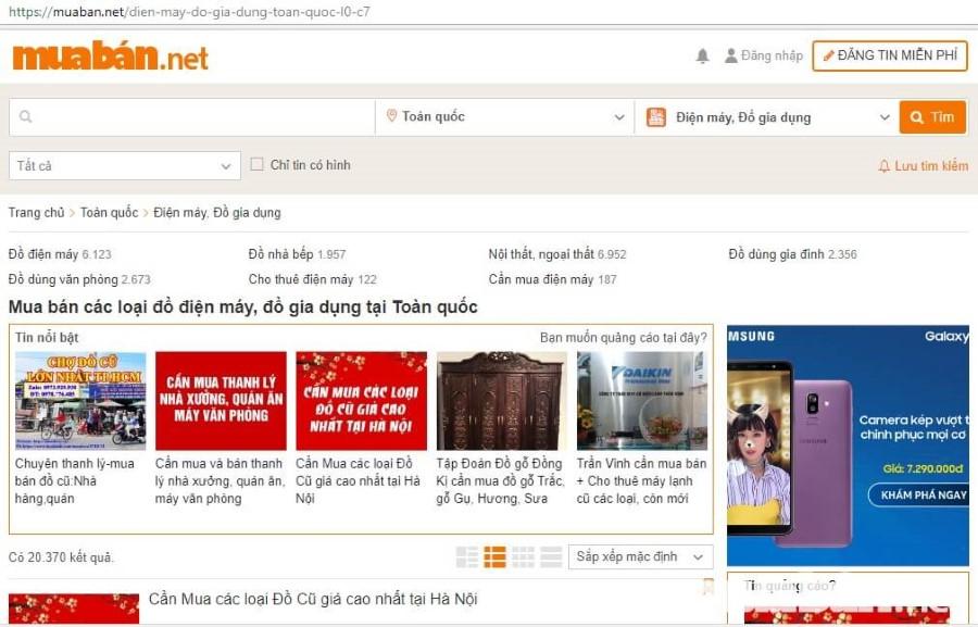 Muaban.net là trang rao vặt đồ gia dụng hàng đầu Việt Nam