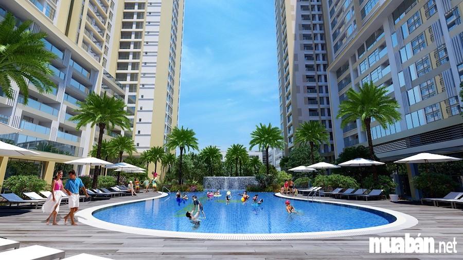 Bể bơi sang chảnh tại chung cư cao cấp