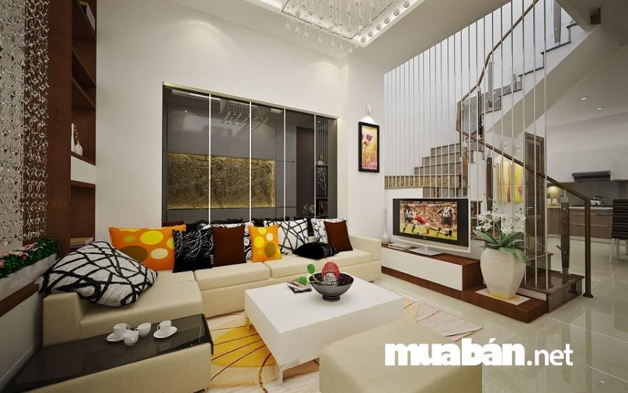 Đối với không gian của phòng khách chỉ nên trưng bày một số đồ nội thất cơ bản .