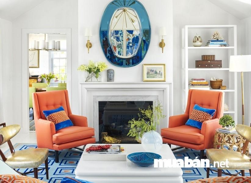 Đừng cố gắng kết hợp 2 màu sắc nội thất tương phản trong phòng khách.