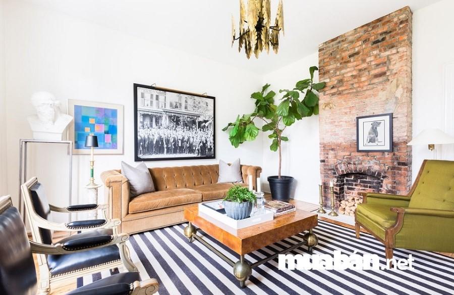Chọn các món đồ nội thất có kích thước vừa phải để tăng tính thẩm mỹ cho phòng khách.