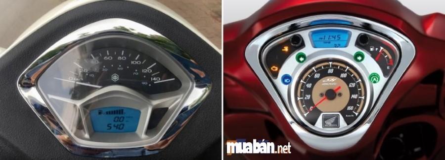 So sánh mặt đồng hồ của Honda SH Mode và Piaggio Liberty