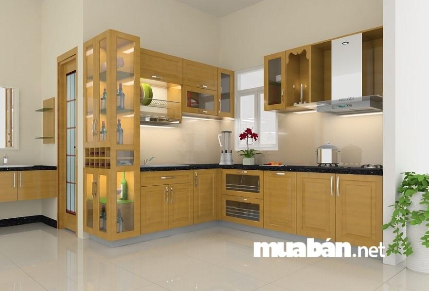 Lắp cửa kính cho các mẫu tủ trong nhà bếp chính là ý tưởng tuyệt vời cho những căn bếp có không gian không hẹp.