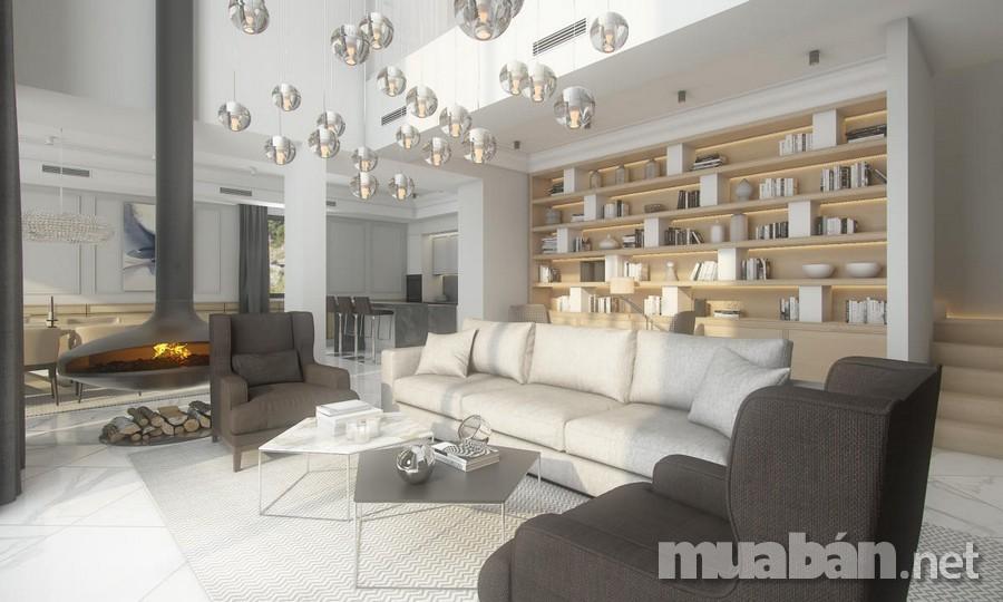 Phong cách nội thất biêt thự hiện đại gây ấn tượng với người nhìn bởi sự gọn gàng và tinh tế trong từng đường nét nhưng cũng không kém phần sang trọng. Tất cả những đồ nội thất của phong cách này đều được thiết kế hiện đại, tiện nghi mang đến sự tiện lợi nhất cho gia chủ. Hơn thế nữa, màu sắc của phong cách hiện đại rất đơn giản với màu sắc chủ đạo là màu trắng. Hầu như tất cả các chi tiết trong đồ nội thất của không gian sống đều có sự hiện diện của màu trắng, từ bàn ghế, kệ ti vi đến những ga trải giường hay rèm cửa,…