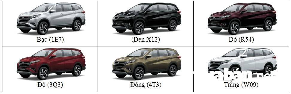 Bảng màu xe Toyota Rush 2018 cho bạn lựa chọn