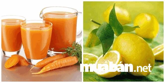 Hỗn hợp nước ép cà rốt kết hợp với nước cốt chanh giúp làm sáng da