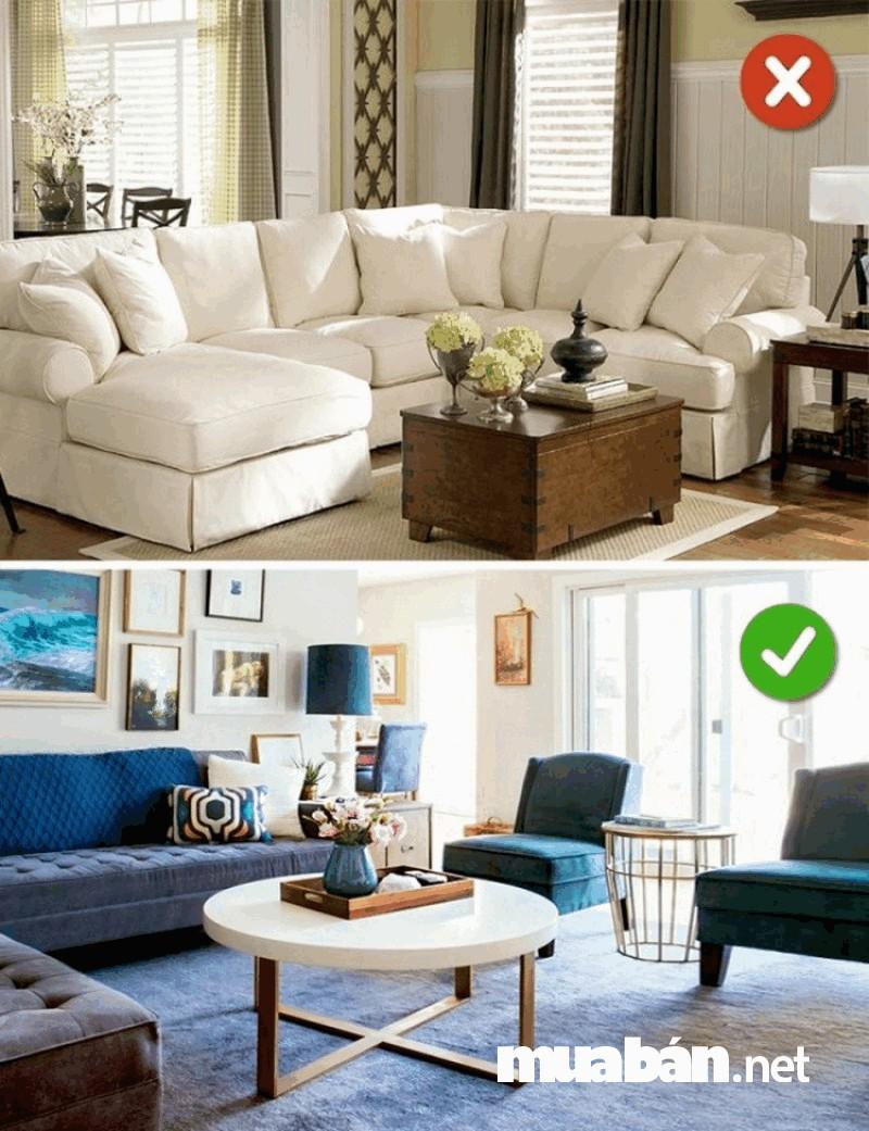 Sắp xếp đồ nội thất trong phòng hài hòa, tạo sự thoải mái