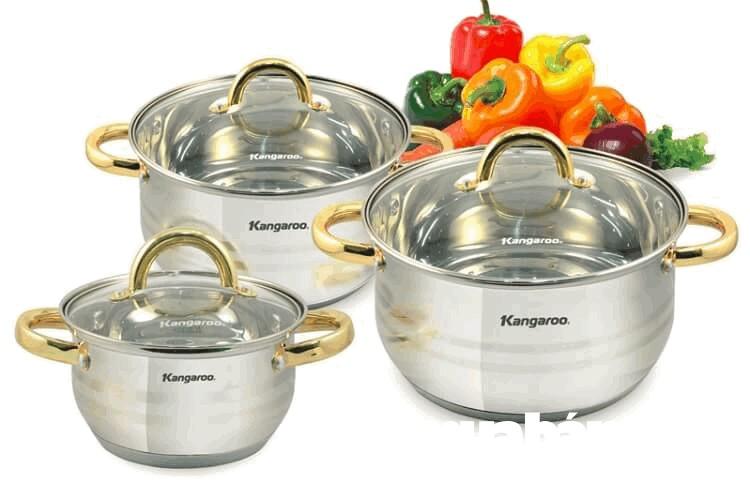 Bộ nồi nấu bếp từ Kangaro, giá khoảng 459.000VND
