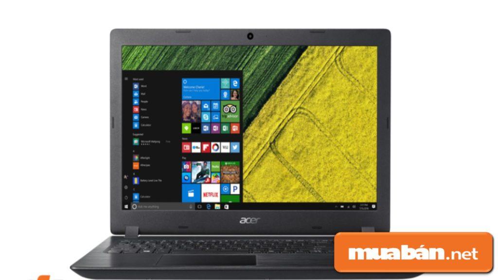 Máy được thiết kế khá đơn giản với lớp vỏ nhựa màu đen, màn hình 15,6 inch HD.