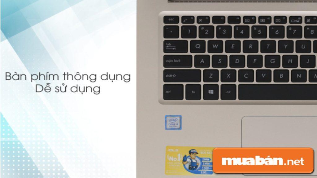 Bàn phím của Asus A510Ua i3 8130U thông dụng, dễ sử dụng.