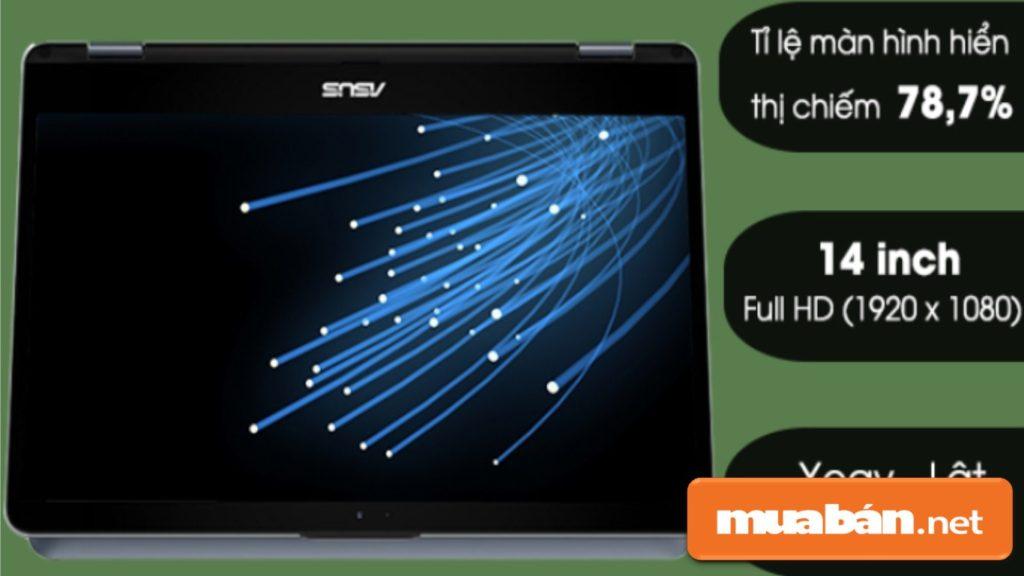 Màn hình có kích thước 14 inch, tỉ lệ màn hình hiển thị chiếm 78,7% được trang bị cảm ứng.