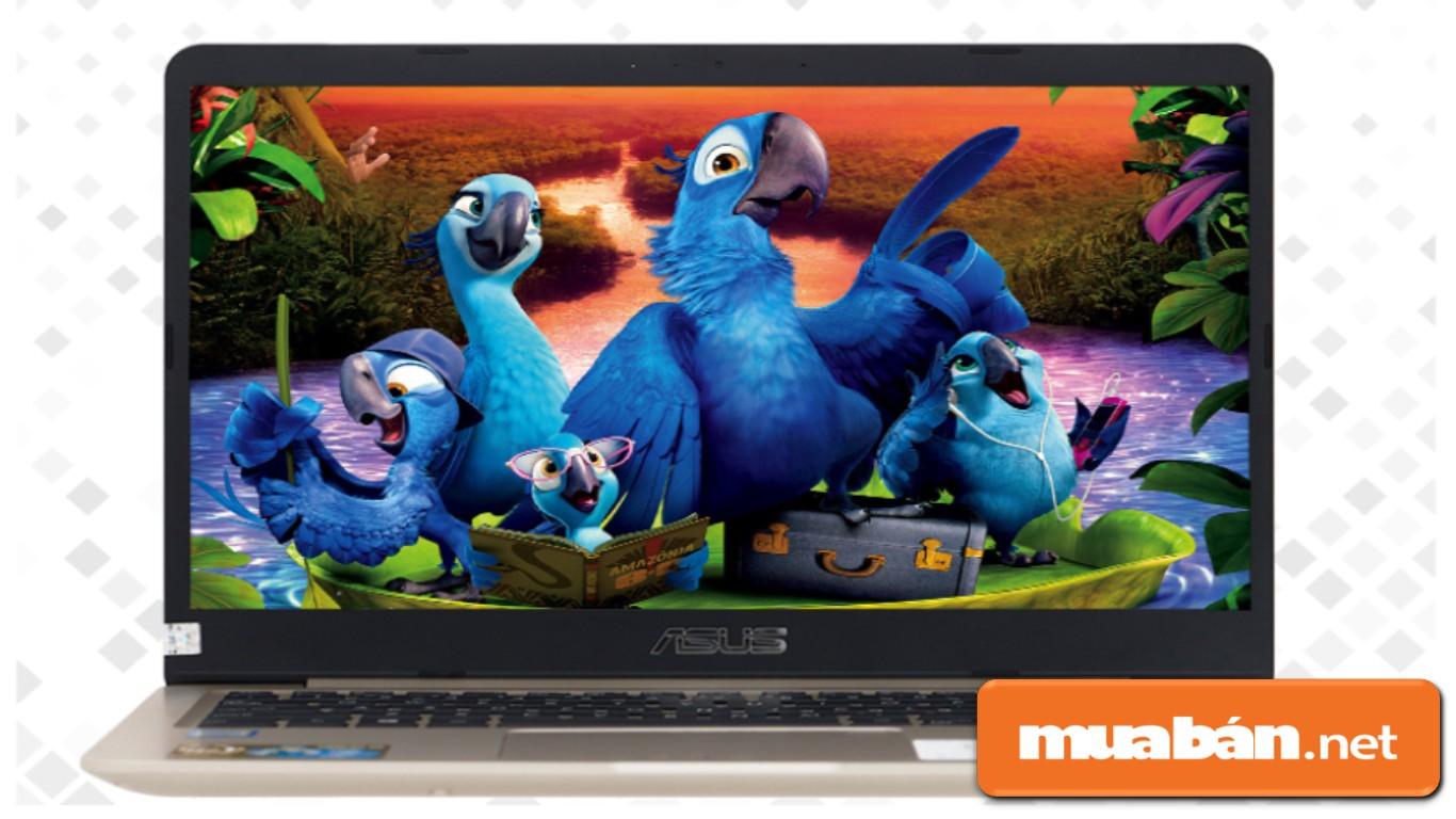 Asus Vivobook A411UA với màn hình có kích thước 14inch, với viền màn hình mỏng.