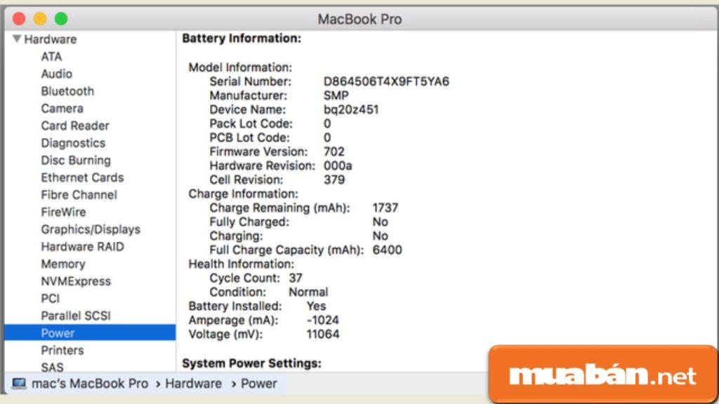 Cách kiểm tra pin trên Macbook cũ