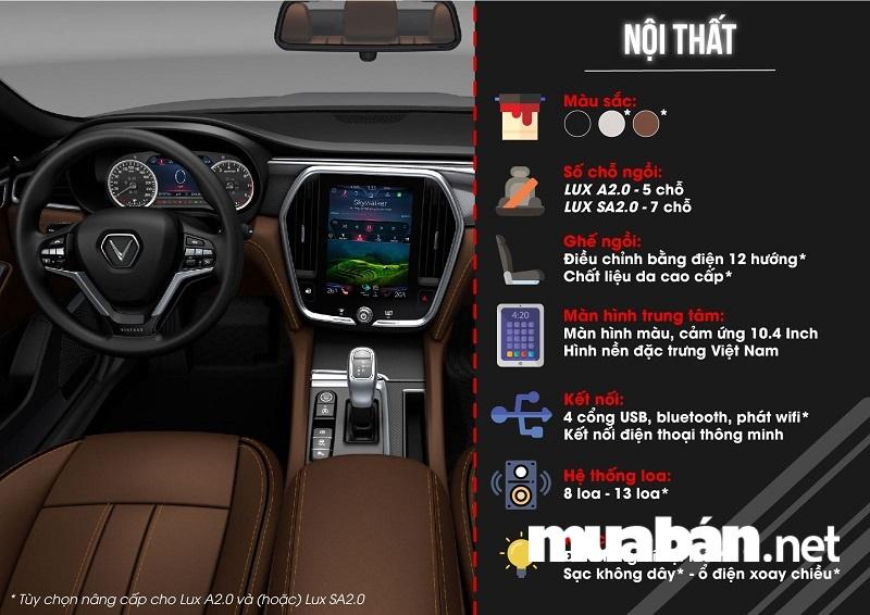Nội thất xe ô tô Vinfast LUX A 2.0 và LUX SA 2.0.