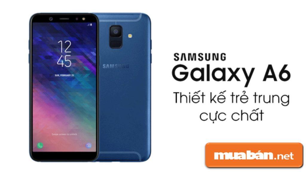Galaxy A6 được Samsung thiết kế nguyên khối bằng chất liệu kim loại khá nổi bật.