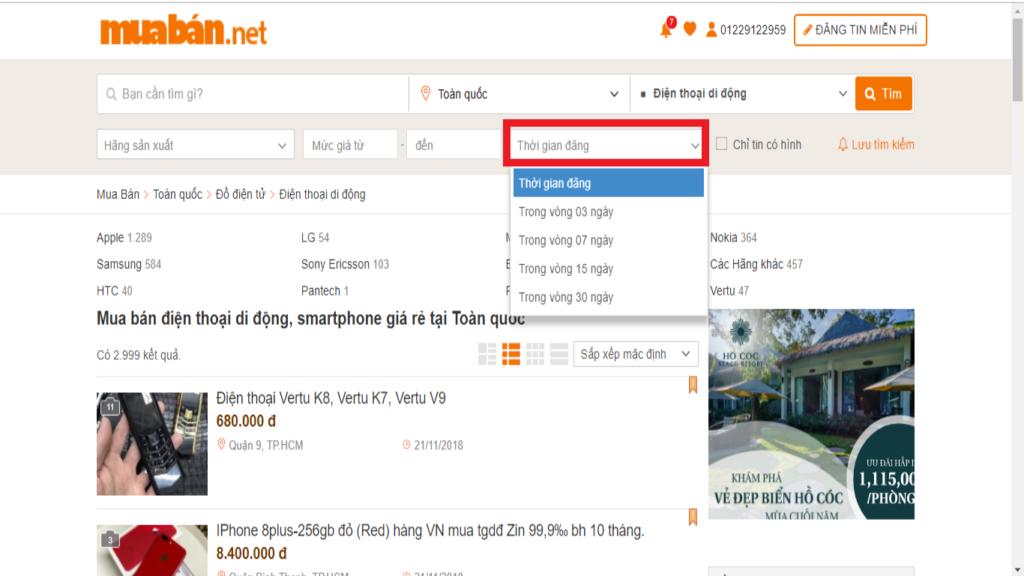Lọc thông tin đăng bán điện thoại cũ giá rẻ theo thời gian đăng thông tin trên muaban.net.
