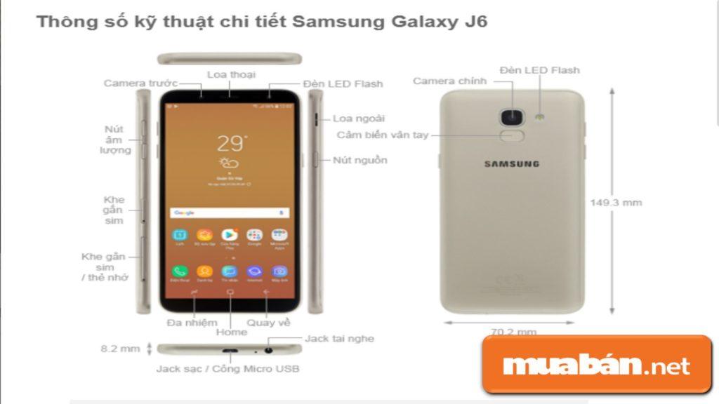 Các thông số kỹ thuật của Samsung Galaxy J6.