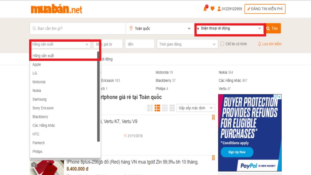 Tìm kiếm điện thoại theo hãng sản xuất mà bạn cần mua.