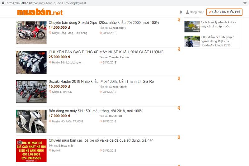 Chợ xe máy cũ trên taphoa.net rất đa dạng và phong phú.