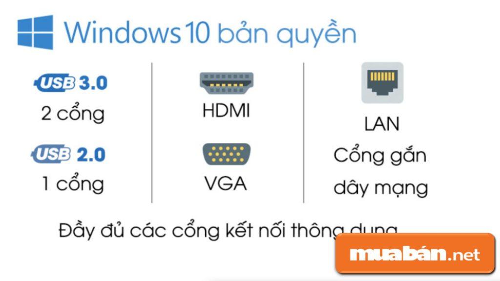 Acer Aspire E5 cũng tích hợp nhiều cổng kết nối để hỗ trợ sinh viên liên kết máy chiếu làm thuyết trình...