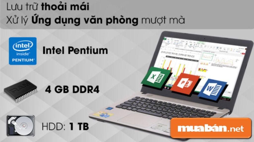X441MAN N5000 sở hữu Intel Pentium giúp ổn định hơn trong quá trình sử dụng.