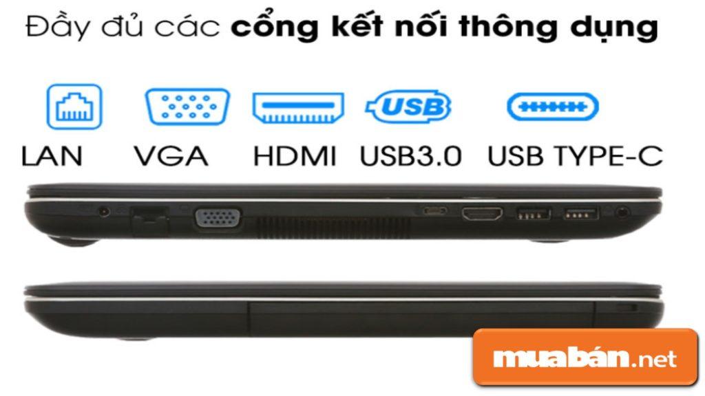 Các cổng kết nối có trên laptop Asus X441MAN N5000.