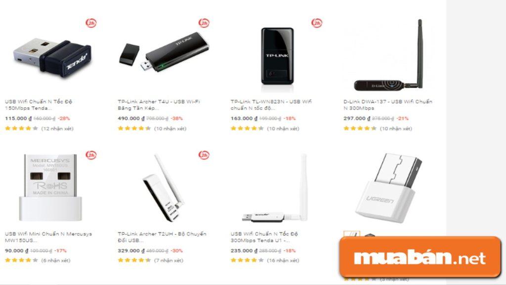 Giá bán của một số mẫu USB wifi có trên tiki.vn