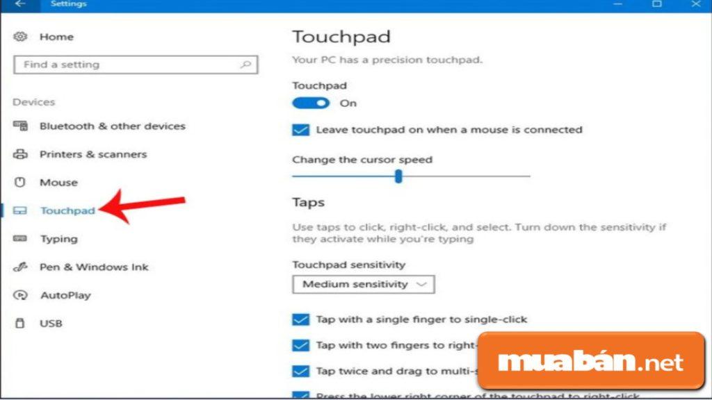 Các thao tác để kiểm tra chế độ Touchpad Sensitivity trên laptop của bạn.