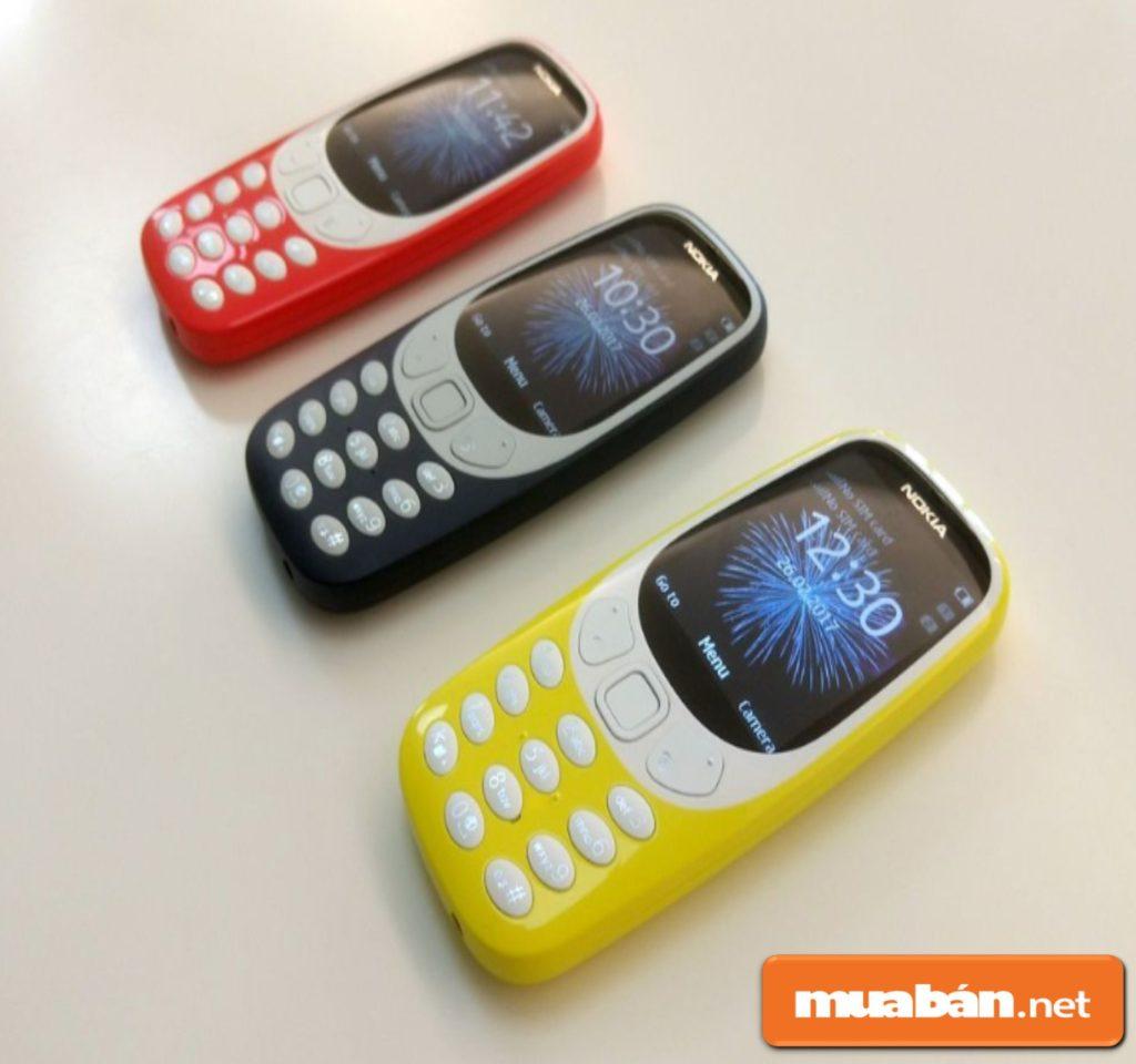 Điện thoại Nokia 3310 có 3 màu vàng, đỏ cam, đen cho khách hàng lựa chọn.