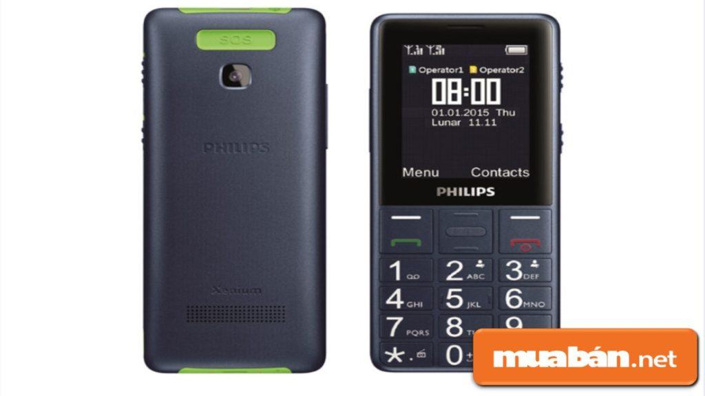Philips E331 được thiết kế khá gọn, thon tiện cho người dùng dễ cầm sử dụng.