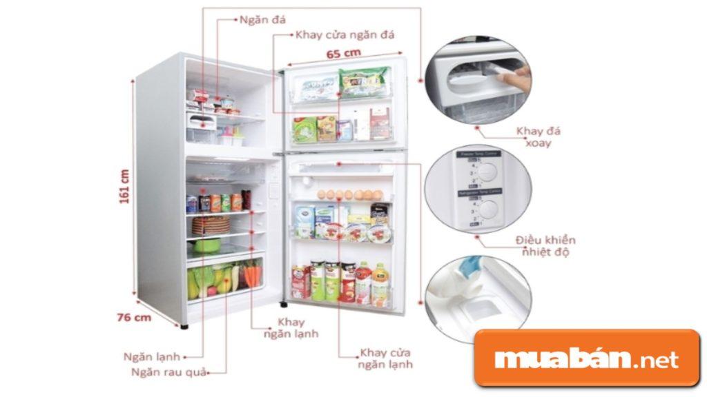 Tủ lạnh Hitachi R-V400PGV3D có màu sắc hiện đại, dung tích 335 lít.